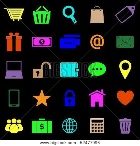 Ecommerce Color Icons On Black Background