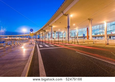 International Airport Terminal T3 night in Beijing poster
