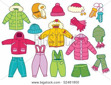 collection of winter children's clothing