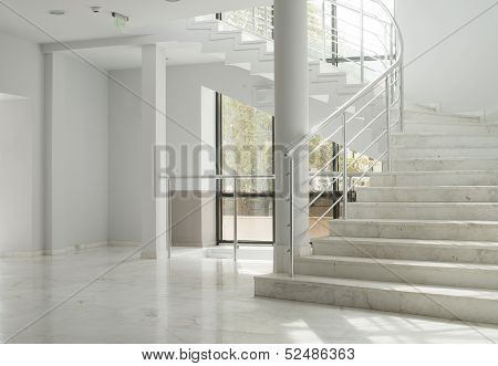 Interior Of A Building With White Walls