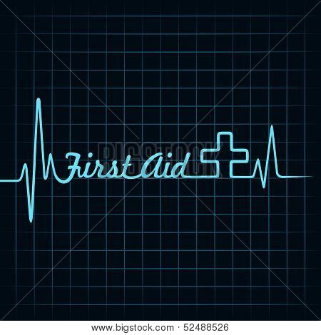 heartbeat make first aid word and symbol