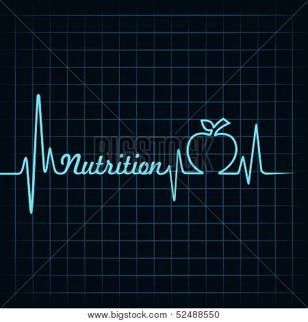 Heartbeat make nutrition word and apple stock vector