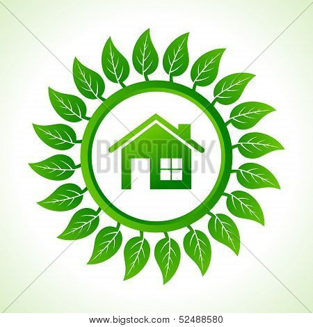 Eco home inside the leaf background