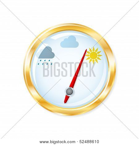 Barometer Measuring Indicates Sunny Weather. Vector Illustration