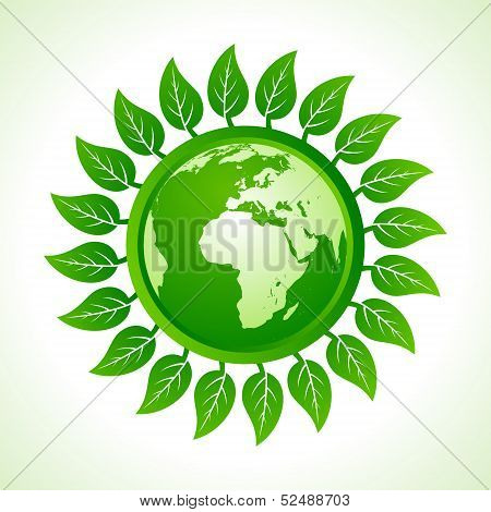 Eco earth inside the leaf background stock vector