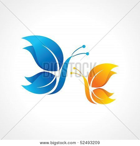 Blue and yellow butterfly icon stock vector