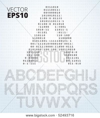 Letter A-Z, font from binary code listing, all alphabet poster