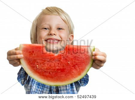 Cute Boy Peeking Through Hole In Water Melon