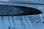 Water drops on a polished black lacquer surface. poster