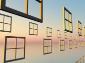 Abstract Windows showing a dawn of opportunity poster