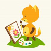 Little cute baby fox draws picture. This is file of EPS8 format. poster