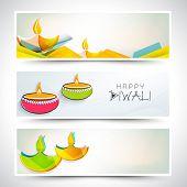 Creative website header or banner set for India festival of lights, Happy Diwali.  poster