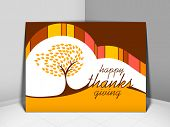 Happy Thanksgiving vintage greeting card with red autumn maple tree design.  poster