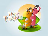 Happy Thanksgiving background with two teddy bears wearing hat on nature background. poster