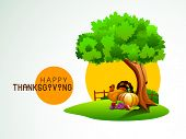 Happy Thanksgiving nature background with turkey bird, vegetables and fruits under the green tree, can be use as flyer, banner or poster.  poster