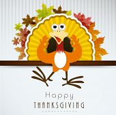 Beautiful Happy Thanksgiving Day background with cute happy cartoon of turkey bird and colorful maple leafs on grey background.  poster