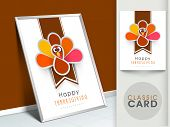 Happy Thanksgiving vintage greeting card with cute happy cartoon of turkey bird.  poster