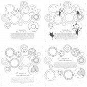 Gears cogs and pinions sketch. Abstract vector illustration. poster