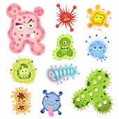 bacteria and virus cartoon.EPS10 File - simple Gradients no Effects no mesh no Transparencies.All in separate layer and group for easy editing. poster