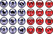 Horoscope signs and symbols blue and red buttons poster