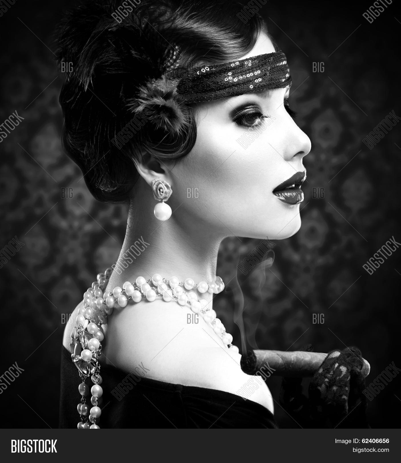 Retro woman portrait image photo free trial bigstock
