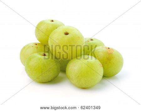 Indian Gooseberries On White Background