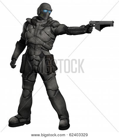 Futuristic sci-fi space marine trooper with pistol firing to his left, 3d digitally rendered illustration poster
