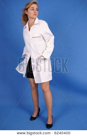 Fashion shot of woman in medical coat