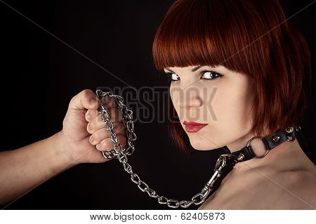 beautiful woman on a leash