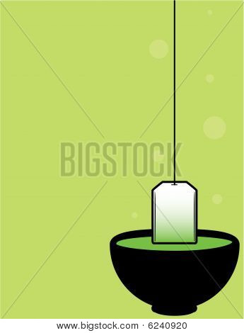 Green Background With Black Teacup