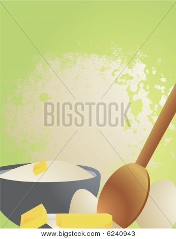 Cooking Ingredients On A Green And Flour Splat Background