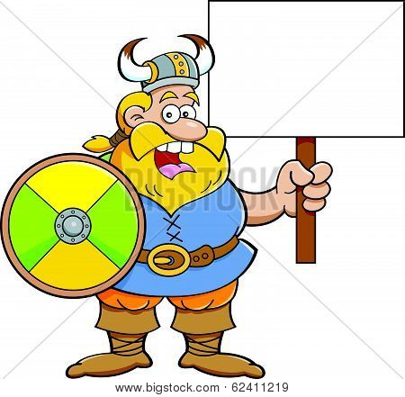 Cartoon illustration of a Viking holding a sign. poster