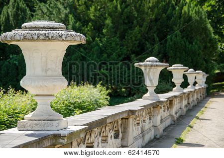 Decorative Stone Fence In A Park In Potsdam, Brandenburg, Germany