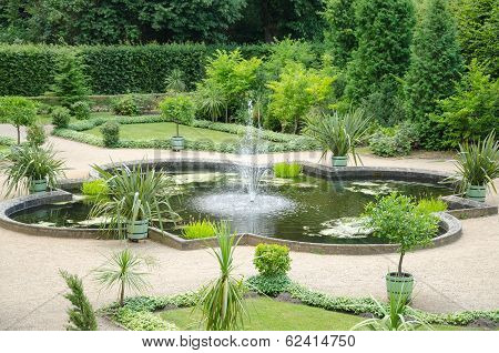 Fountain And Garden From The 18Th Century In Potsdam, Brandenburg, Germany