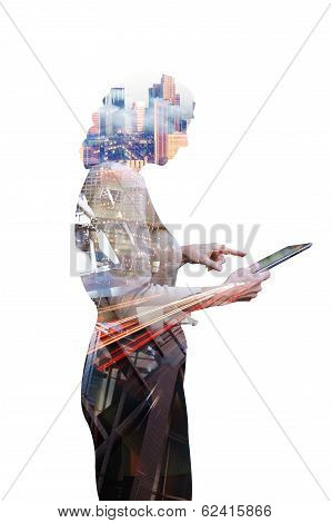 Businesswoman and technology
