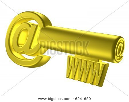 Rendered Image Of Stylized Gold Key With Internet Signs
