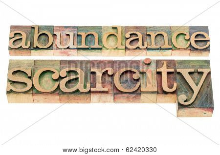 abundance and scarcity - isolated words in n letterpress wood type blocks stained by color inks