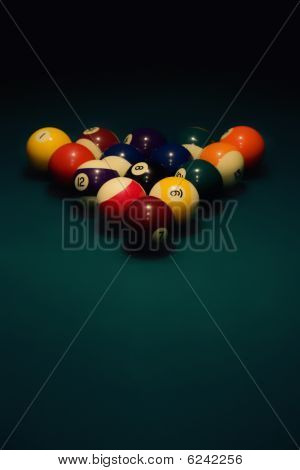 Spheres For  Pool On Green Cloth