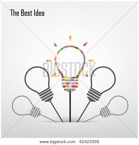 Creative Light Bulb  And The Best Idea Concept