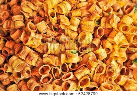 Thai Fried Dry Roll Sweet Banana Snack Food, Background