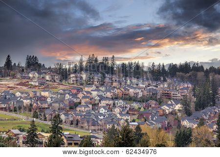 Cloudy Sunset Over North America Suburban Residential Subdivision
