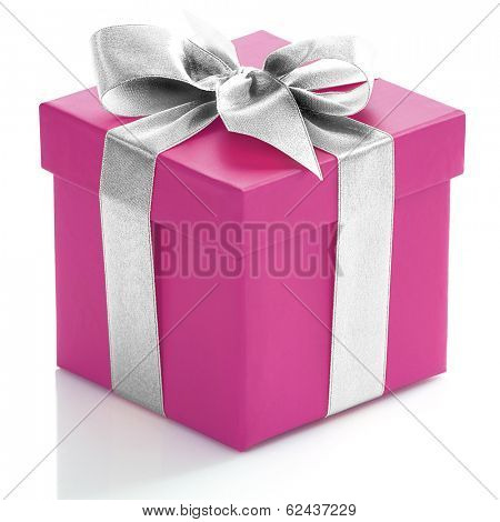 Single pink gift box with silver ribbon on white background.