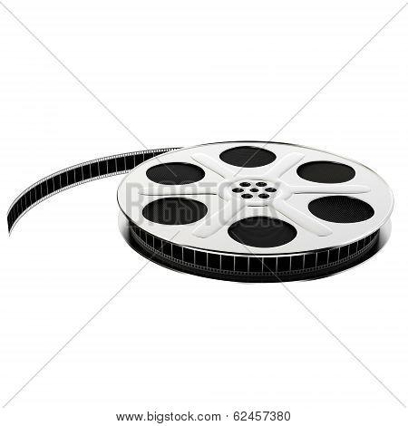 Silver film reel with filmstrip, 3d