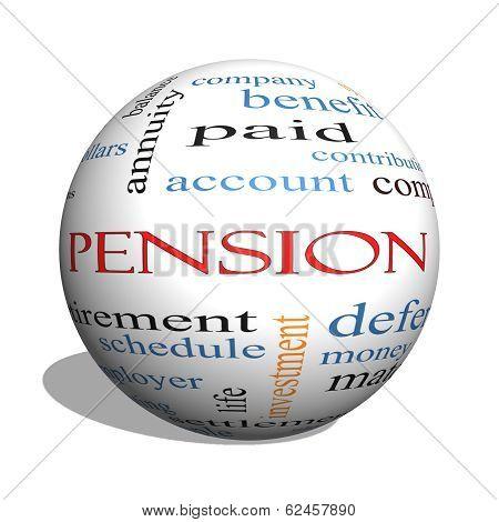 Pension 3D Sphere Word Cloud Concept