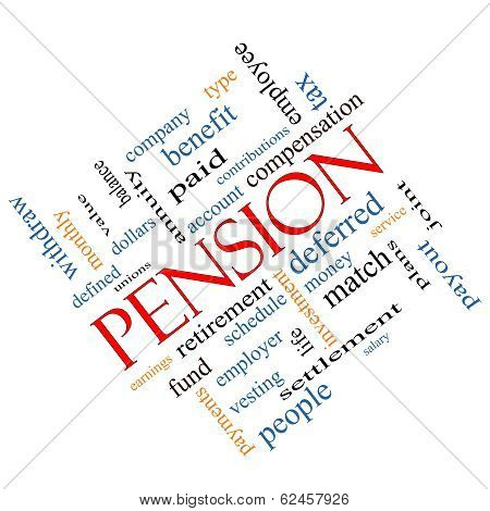 Pension Word Cloud Concept Angled