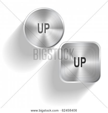Up. Vector set steel buttons
