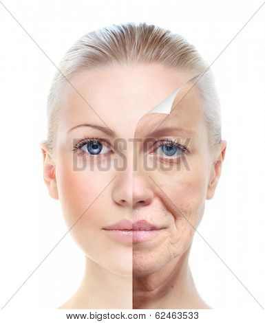 Old and young woman, isolated on white, before and after retouch, beauty treatment, skin care concept.