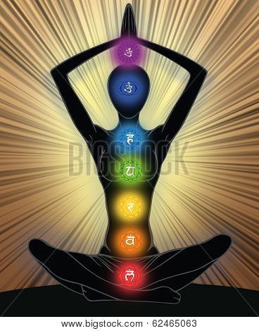 Woman silhouette in yoga position with the symbols of seven chakras poster