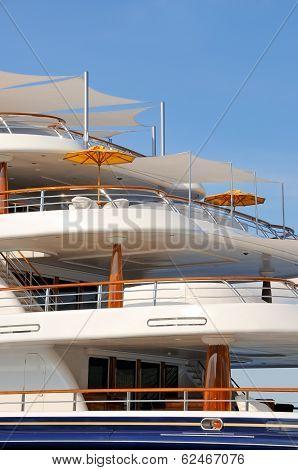 Luxury motor yacht decks