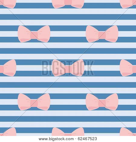 Seamless vector pattern with pastel pink bows on a sailor navy blue strips background. For desktop wallpaper or kids website design poster